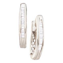 Baguette Diamond Hoop Earrings 1/4 Cttw 14kt White Gold
