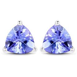 1.50 ctw Tanzanite Earrings 14K White Gold - REF-41F4W