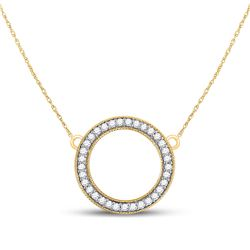 Diamond Circle Pendant Necklace 1/2 Cttw 10kt Yellow Gold