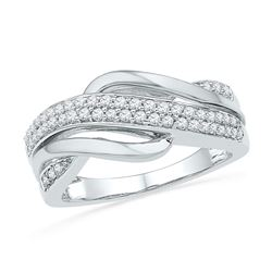 Diamond Crossover Band Ring 1/3 Cttw 10kt Two-tone Gold