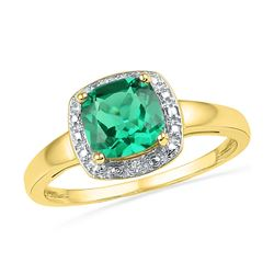 Lab-Created Emerald Solitaire Diamond Ring 1-3/4 Cttw 10kt Yellow Gold