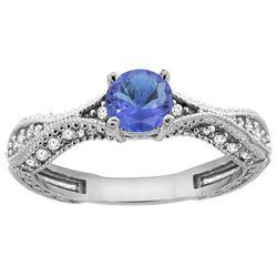 0.84 CTW Tanzanite & Diamond Ring 14K White Gold - REF-70M2K
