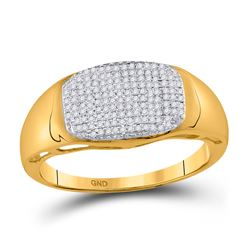 Mens Round Pave-set Diamond Oval Cluster Ring 1/4 Cttw 10kt Yellow Gold