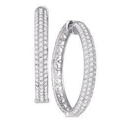 "Diamond Luxury 1"" Hoop Earrings 4.00 Cttw 10kt White Gold"