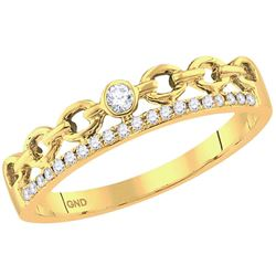 Diamond Rolo Link Stackable Band Ring 1/12 Cttw 14kt Yellow Gold