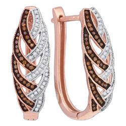 Round Red Color Enhanced Diamond Hoop Luxury Earrings 1/3 Cttw 10kt Rose Gold