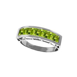 Genuine 2.25 ctw Peridot Ring 14KT White Gold - REF-54T2A