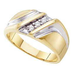 Mens Diamond Wedding Anniversary Band Ring 1/10 Cttw 10kt Yellow Two-tone Gold
