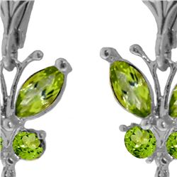 Genuine 2.74 ctw Peridot Earrings 14KT White Gold - REF-42M6T