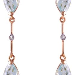 Genuine 6.01 ctw Aquamarine & Diamond Earrings 14KT Rose Gold - REF-50W2Y