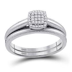 Diamond Bridal Wedding Engagement Ring Band Set 1/10 Cttw 10kt White Gold