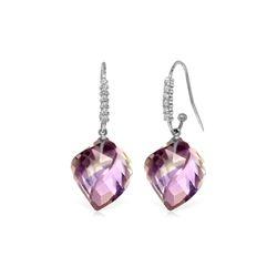 Genuine 21.68 ctw Amethyst & Diamond Earrings 14KT White Gold - REF-61N3R