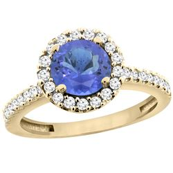 1.22 CTW Tanzanite & Diamond Ring 10K Yellow Gold - REF-61F3N