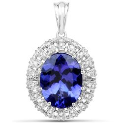 9.81 ctw Tanzanite & Diamond Pendant 18K White Gold - REF-1128K2T