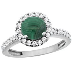 2.56 CTW Malachite & Diamond Ring 10K White Gold - REF-54Y3V