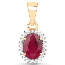 1.06 ctw Ruby & White Diamond Pendant 14K Yellow Gold - REF-38F2W