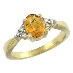 1.06 CTW Quartz & Diamond Ring 14K Yellow Gold - REF-36K8W