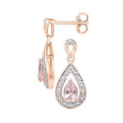 Pear Lab-Created Morganite Diamond Dangle Earrings 1/2 Cttw 10kt Rose Gold