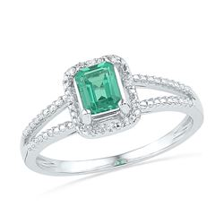 Lab-Created Emerald Solitaire Diamond Split-shank Ring 1-1/2 Cttw 10kt White Gold