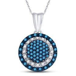 Round Blue Color Enhanced Diamond Circle Frame Cluster Pendant 1/4 Cttw 10kt White Gold