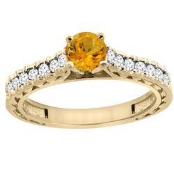 0.72 CTW Citrine & Diamond Ring 14K Yellow Gold - REF-62H3M