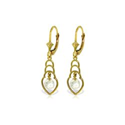 Genuine 1.25 ctw White Topaz Earrings 14KT Yellow Gold - REF-25H6X