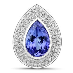 5.39 ctw Tanzanite & Diamond Pendant 14K White Gold - REF-367N4A