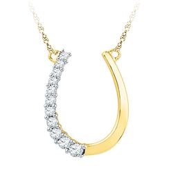 Diamond Horseshoe Pendant Necklace 1/5 Cttw 10kt Yellow Gold