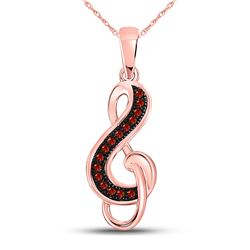 Round Red Color Enhanced Diamond Treble Clef Pendant 1/20 Cttw 10kt Rose Gold