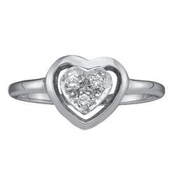 Diamond Simple Heart Cluster Ring 1/20 Cttw 10kt White Gold