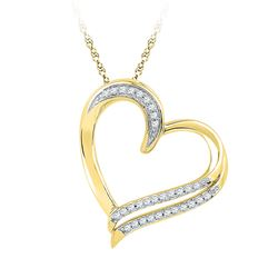 Diamond Heart Pendant 1/6 Cttw 10kt Yellow Gold