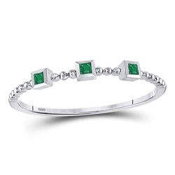 Emerald Beaded 3-stone Stackable Band Ring .03 Cttw 10kt White Gold