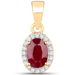 1.04 ctw Ruby & White Diamond Pendant 14K Yellow Gold - REF-33W2M