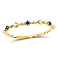 Round Blue Sapphire Diamond Beaded Stackable Band Ring 1/20 Cttw 10kt Yellow Gold