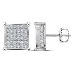 Diamond Square Cluster Stud Earrings 1-1/2 Cttw 10kt White Gold