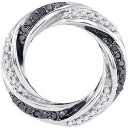 Round Black Color Enhanced Diamond Circle Pendant 1/4 Cttw 10kt White Gold