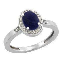 0.90 CTW Lapis Lazuli & Diamond Ring 14K White Gold - REF-37H3M