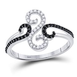 Round Black Color Enhanced Diamond Swirled Whimsical Band Ring 1/5 Cttw 10kt White Gold