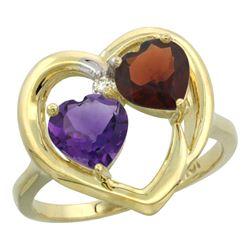 2.61 CTW Diamond, Amethyst & Garnet Ring 14K Yellow Gold - REF-33R9H