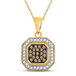 Round Brown Diamond Octagon Cluster Pendant 1/3 Cttw 10kt Yellow Gold