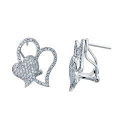 0.89 CTW Diamond Earrings 14K White Gold - REF-71R7K