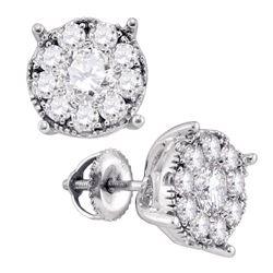 Diamond Cluster Earrings 1/3 Cttw 14kt White Gold