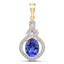 4.19 ctw Tanzanite & Diamond Pendant 14K Yellow Gold - REF-284T2X