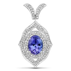 4.55 ctw Tanzanite & Diamond Pendant 14K White Gold - REF-313A6M