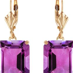 Genuine 13 ctw Amethyst Earrings 14KT Yellow Gold - REF-54W2Y