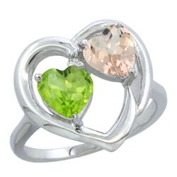 1.91 CTW Diamond, Peridot & Morganite Ring 14K White Gold - REF-36Y6V