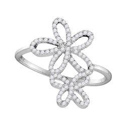 Diamond Flower Star Cluster Ring 1/5 Cttw 10kt White Gold
