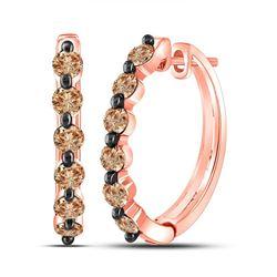 Round Brown Diamond Hoop Earrings 1.00 Cttw 14kt Rose Gold