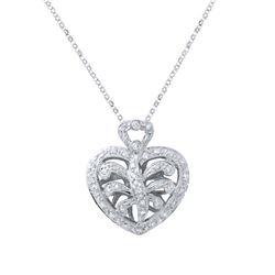 0.30 CTW Diamond Necklace 18K White Gold - REF-58N4Y