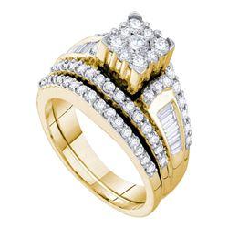 Diamond Bridal Wedding Engagement Ring Band Set 1-1/2 Cttw 14kt Yellow Gold